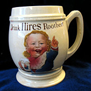 REDUCED Antique Vintage Hires Root Beer Baby Boy  Mug Mettlach Villeroy & Boch Germany