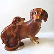 Vintage Dachshund Dog Mother & Puppy Figurine Napco Japan