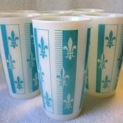 REDUCED 6 Vintage Hazel Atlas Turquoise Blue Fleur De Lis Milk Glass Tumblers Platonite