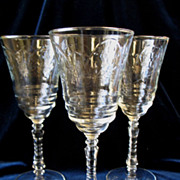 REDUCED 3 Libbey Rock Sharpe Normandy Water Goblets Star Foot