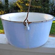 REDUCED Antique Blue White Enamel Cast Iron Kettle Pot Campfire Cauldron 8 Qt  w/ Handle