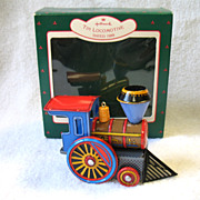 REDUCED 1988 Hallmark Tin Locomotive Train Toy Christmas Ornament In Box # 7 In Series