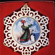 REDUCED Lenox Ornament Magic of Christmas Gift of Peace Santa Polar Bears 1st In Series