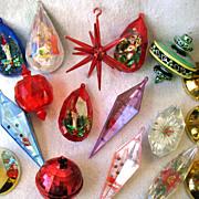REDUCED 17  Vintage Plastic Christmas Ornaments Atomic Sputnik Diorama Bell Disco Ball