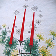 Vintage Retro Christmas Tablecloth Candles Chartreuse Greenery 53 x 60