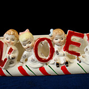 REDUCED Vintage Napco Christmas Planter NOEL Candy Cane Kids Sleigh Boys & Girls