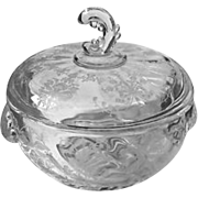 SALE Heisey Orchid Etch Covered Chocolate Candy Dish Wave Finial