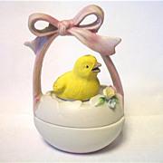 SALE Vintage Lefton Easter Egg Chick Trinket Box  Japan Just Hatched Pink Ribbon
