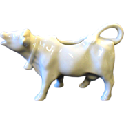 Vintage Porcelaine De France Cow Creamer with Cowbell All White