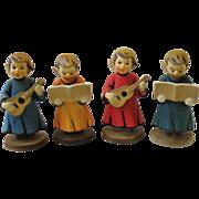 SALE Vintage Set 4 Choir Angel Figurines Hard Plastic Hong Kong