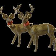 """SOLD 2 Vintage Gold Christmas Deer Hard Plastic Hong Kong Bells 7 1/2"""""""