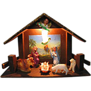 SALE Vintage Christmas Wood & Celluloid Nativity Lighted  Manger Creche