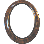 "SALE Large Antique Oval Wood Frame Tiger Stripe Convex Bubble Glass 25"" x 19"""
