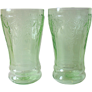 SALE Set of 2 Depression Glass Green Cameo Ballerina Tumblers 5""