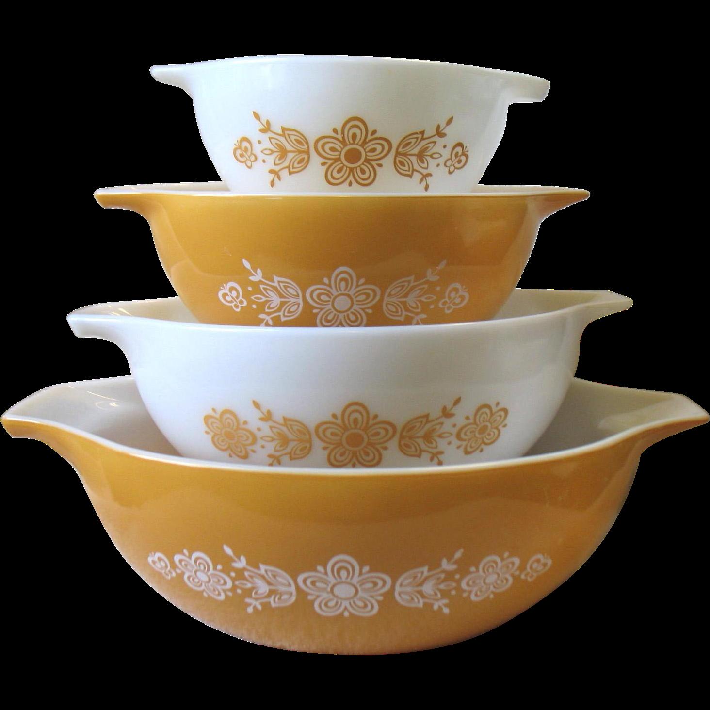Furniture Kitchen Set Vintage Pyrex Gold Butterfly Cinderella Bowl Set Of 4