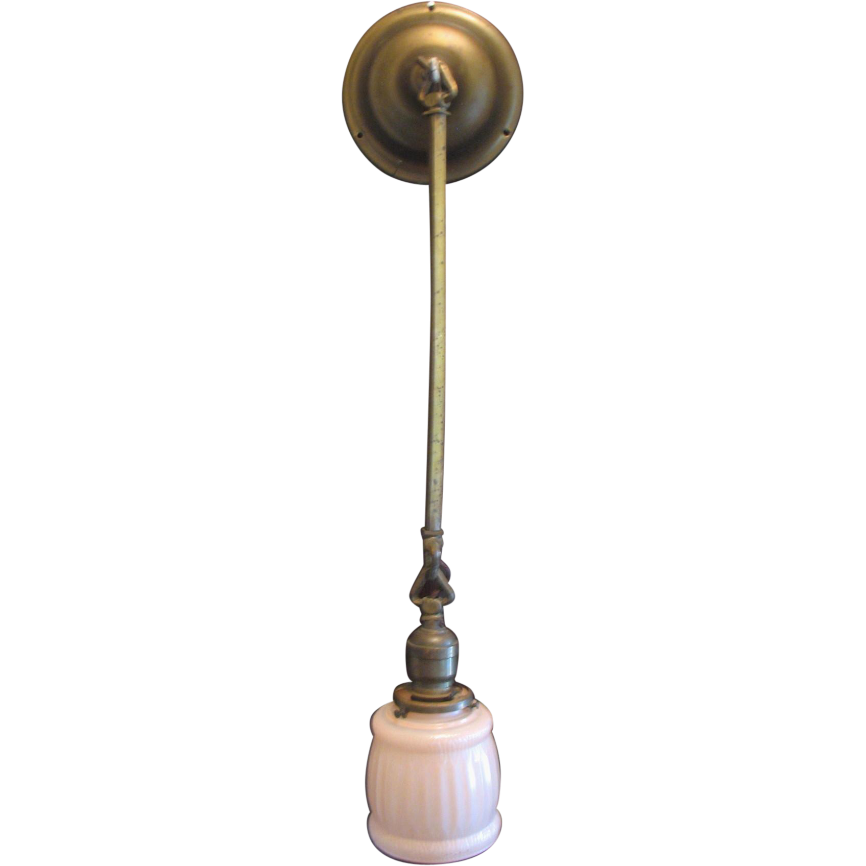 Vintage Small Ceiling Wall Drop Light Lamp Brass & Pink Glass Shade from mightyfinefinds on Ruby ...