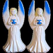 "Vintage Christmas Angel Light Pair Blow Mold Hard Plastic 18""  Union Products"