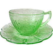 Depression Glass Cherry Blossom Green Cup & Saucer Set Jeannette