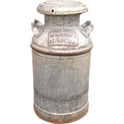 Large Vintage Metal Milk Can Dairymen's League Burschel Dairy Scranton Pa
