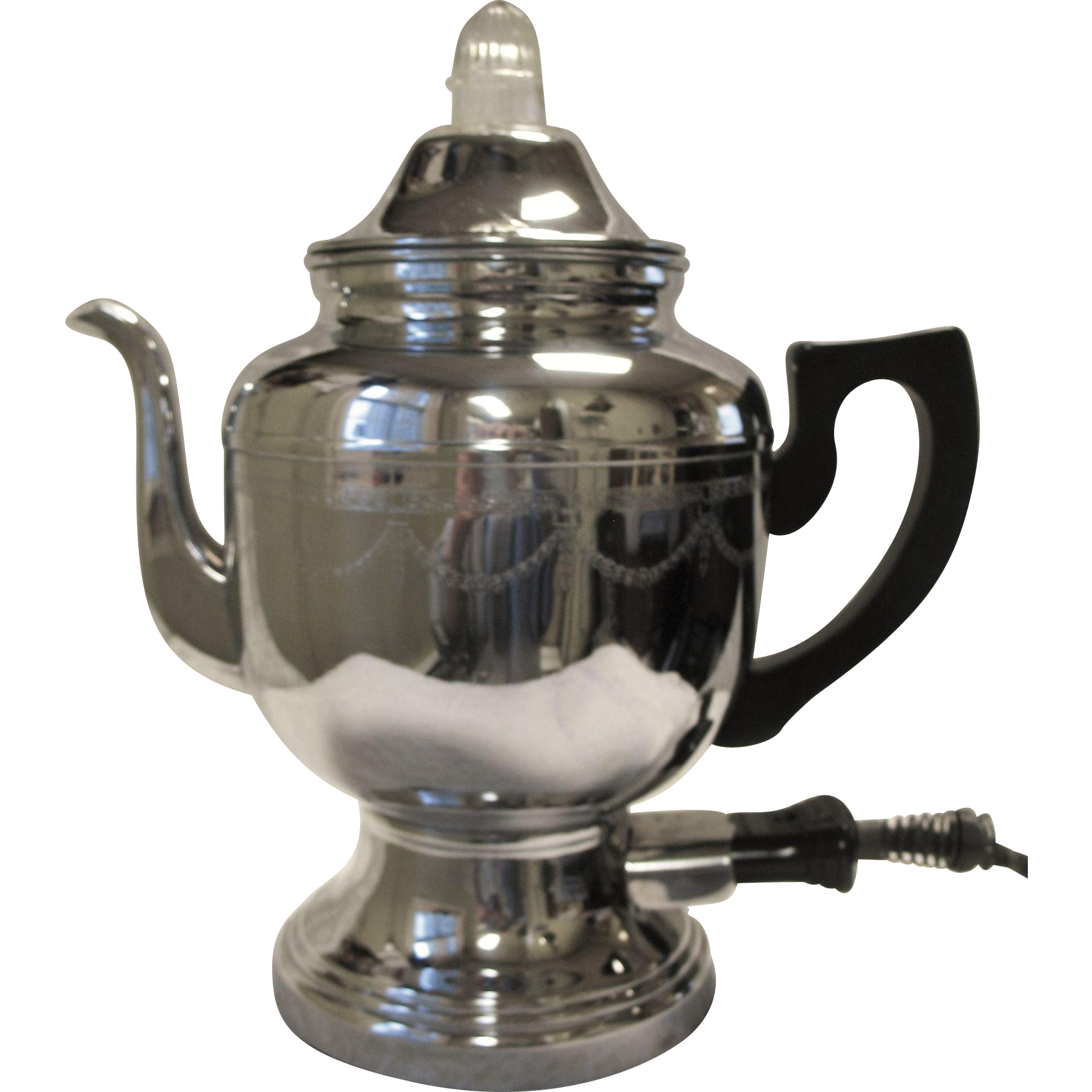 Farberware Coffee Pot Electric Cord : Vintage Farberware Electric Coffee Percolator Pot Art Deco Chrome Etched
