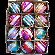 Vintage Shiny Brite Glass Christmas Ornaments Box Set of 12 Stripes Original Box