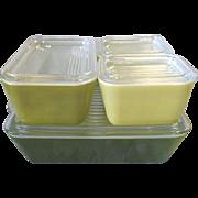Vintage PYREX Refrigerator Dish Set Green Verde 8 Piece Very Good Condition