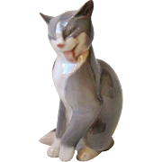 """Bing & Grondahl B & G Gray Cat Kitten Porcelain Figurine 2465 Copenhagen 5 1/2"""""""
