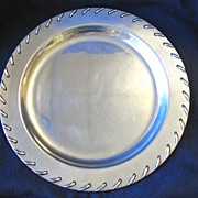 """REDUCED Vintage Wilton Armetale Pewter Tray Large 14"""" Rope Stitch Laced Edge"""