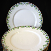 """REDUCED Lot of 8 Antique Ahrenfeldt Limoges Plates 8 5/8"""" Blue Pink Gold Wright Tyndale"""
