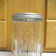 REDUCED Vintage Old Sellers Hoosier TEA Jar Canister Ribbed Triple Skip