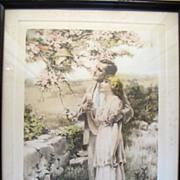 "REDUCED Original Vintage 1920's Bessie Pease Gutmann ""Home Builders"" Print Framed Yo"