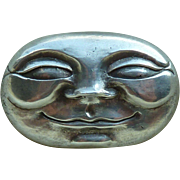 Modernist Sterling Silver Moon Face Pendant