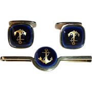 Georg Jensen Royal Copenhagen Sterling Vermeil Anchor Cufflinks Tie Bar Vintage