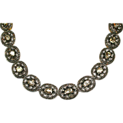 Georgian Style 22K Yellow Gold Necklace with 16-18 Carats of Rose Cut Diamonds