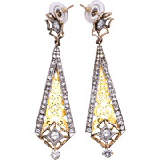 Estate Art Deco Style Earrings in 14 Karat Gold & Silver with Diamond Accents