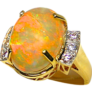 Ladies Museum Quality Solid Opal 18K Yellow Gold Ring with Diamond Accents