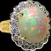 Ladies Gem Quality 7.27 Carat Opal 18 Karat Gold Ring with Diamond Accents