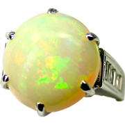 Estate Ladies 7.30 Carat Solid Opal 14K White Gold Ring with Diamond Accents