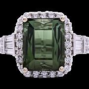 Estate Ladies 7.80 Carat Green Tourmaline 18K White Gold Ring with Diamond Accents