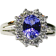 Ladies Princess Diana Style Tanzanite and Diamond 18K White Gold Ring