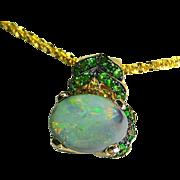 Ladies Estate Opal 14K Gold Pendant/Slide with Tsavorite Garnets, Citrines and Diamonds
