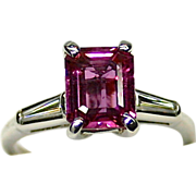 Ladies Spectacular Estate Platinum Ring with 2.29 Carat Natural Pink Sapphire and Diamond Acce