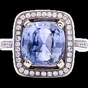 Estate Ladies 6.16 carat Blue Sapphire 18k white gold ring with Diamonds