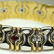 Natural Ruby and Diamond Italian 14k White and Yellow Gold Bracelet