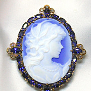 Ladies Blue Agate 14K Yellow Gold Brooch/Enhancer with Amethyst and Diamonds Accents