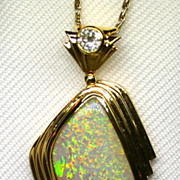 SOLD Australian Solid Opal 18K Yellow Gold Pendant with Diamond Accent
