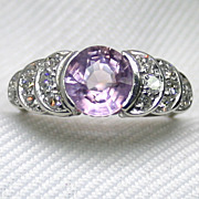 Pink Spinel Platinum Ring with Diamond Accents