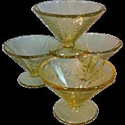 Amber Depression glass sherbets