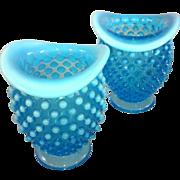Pair of Fenton Blue Hobnail Vases
