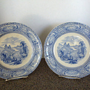 Pair of Florentine Blue Transfer Plates by Mayer c. 1843-55